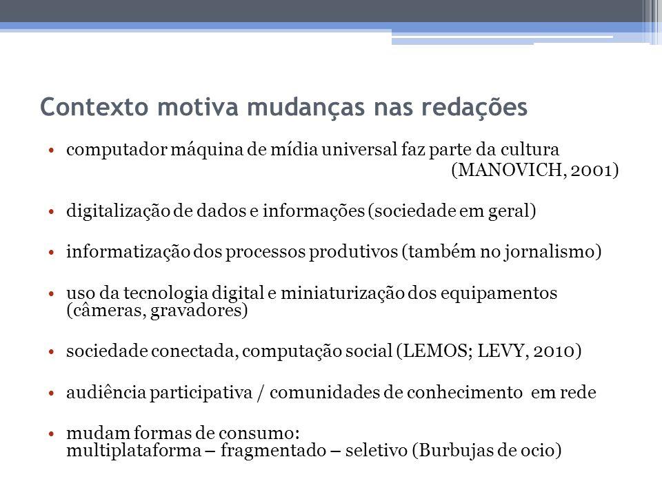 Contexto motiva mudanças nas redações computador máquina de mídia universal faz parte da cultura (MANOVICH, 2001) digitalização de dados e informações