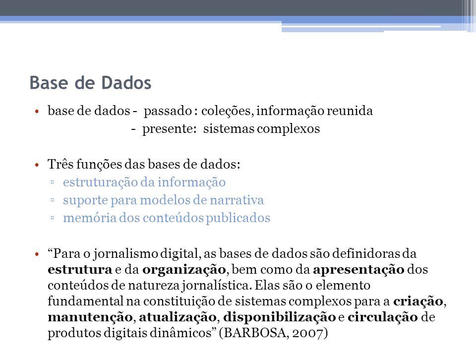 Base de Dados base de dados - passado : coleções, informação reunida - presente: sistemas complexos Três funções das bases de dados: estruturação da i