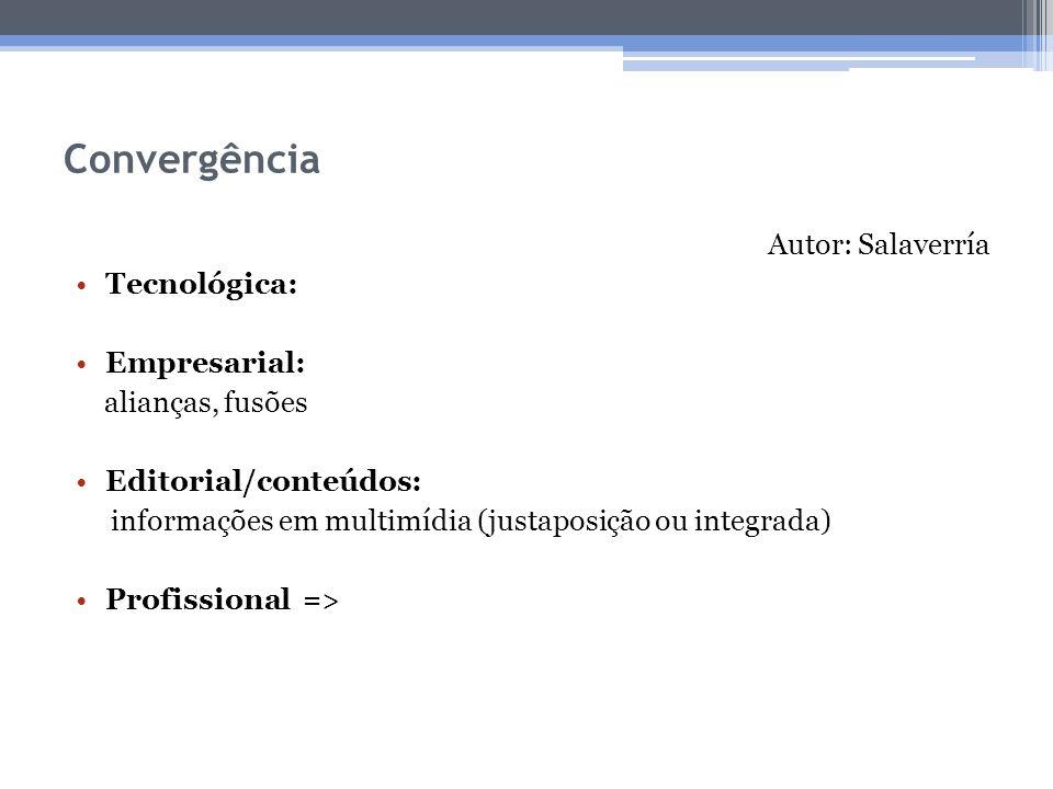 Convergência Autor: Salaverría Tecnológica: Empresarial: alianças, fusões Editorial/conteúdos: informações em multimídia (justaposição ou integrada) P