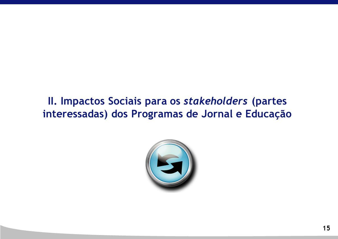 15 II. Impactos Sociais para os stakeholders (partes interessadas) dos Programas de Jornal e Educação
