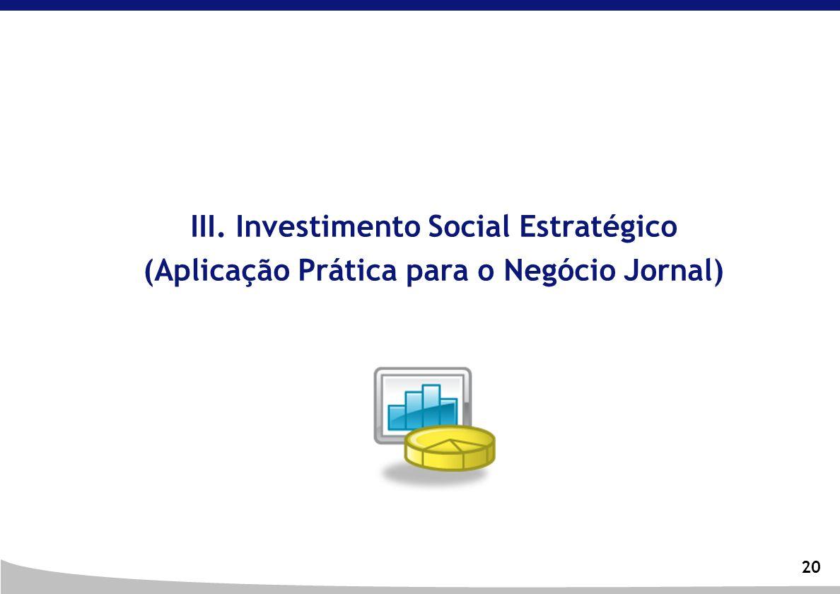 20 III. Investimento Social Estratégico (Aplicação Prática para o Negócio Jornal)