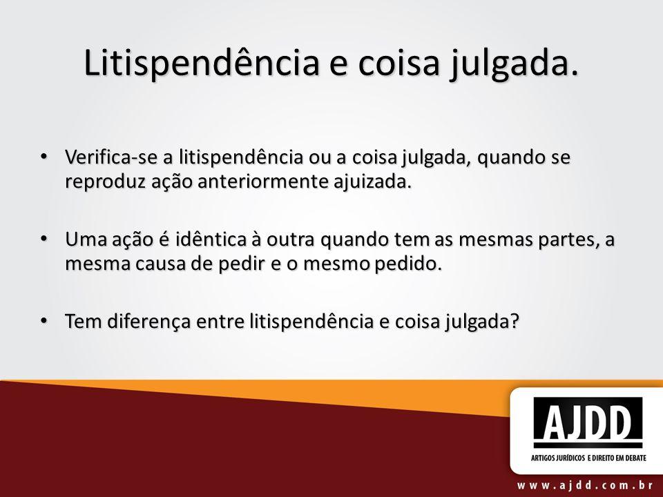 Litispendência e coisa julgada. Verifica-se a litispendência ou a coisa julgada, quando se reproduz ação anteriormente ajuizada. Verifica-se a litispe