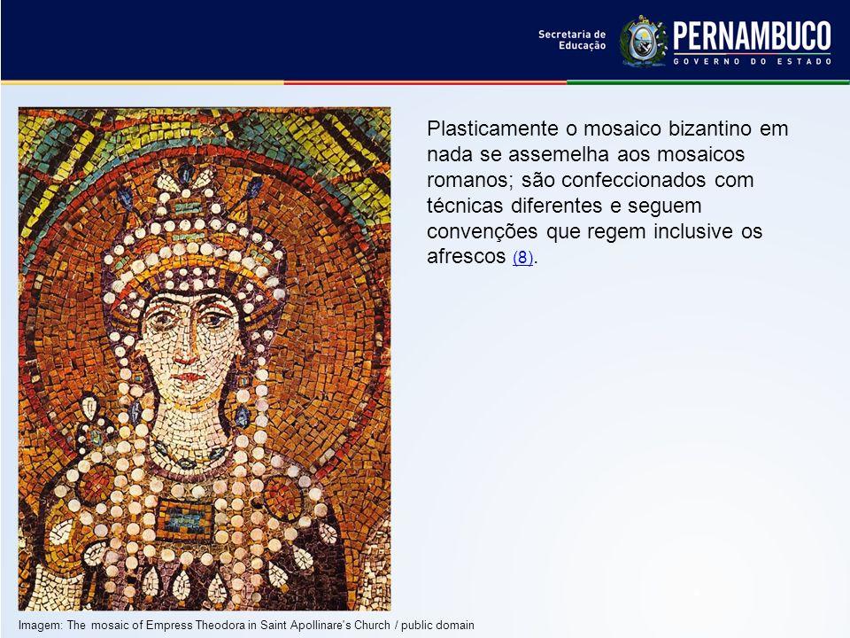Plasticamente o mosaico bizantino em nada se assemelha aos mosaicos romanos; são confeccionados com técnicas diferentes e seguem convenções que regem