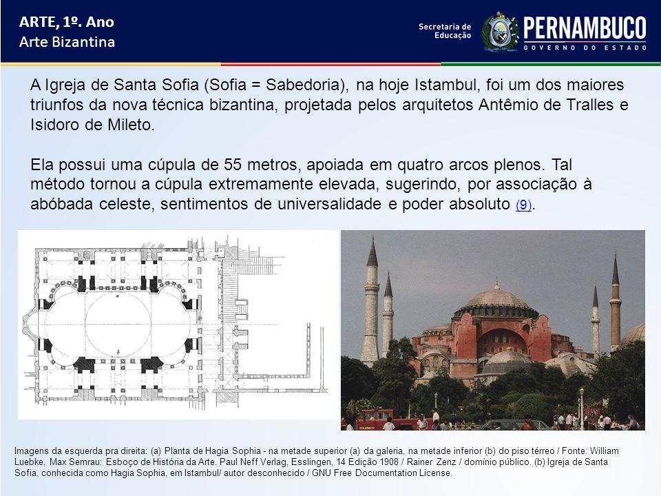 ARTE, 1º. Ano Arte Bizantina A Igreja de Santa Sofia (Sofia = Sabedoria), na hoje Istambul, foi um dos maiores triunfos da nova técnica bizantina, pro