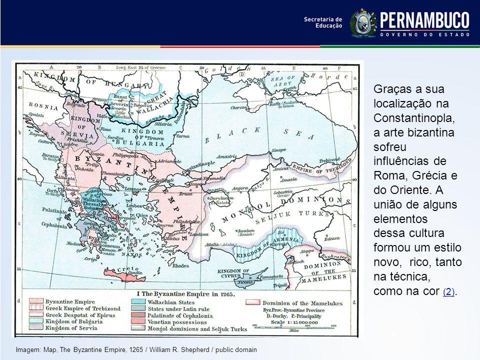 Graças a sua localização na Constantinopla, a arte bizantina sofreu influências de Roma, Grécia e do Oriente. A união de alguns elementos dessa cultur