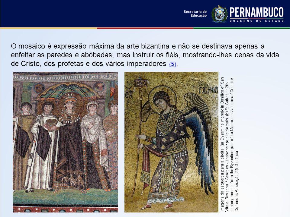 O mosaico é expressão máxima da arte bizantina e não se destinava apenas a enfeitar as paredes e abóbadas, mas instruir os fiéis, mostrando-lhes cenas