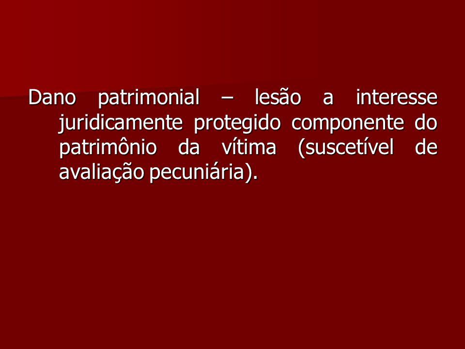 Dano patrimonial – lesão a interesse juridicamente protegido componente do patrimônio da vítima (suscetível de avaliação pecuniária).