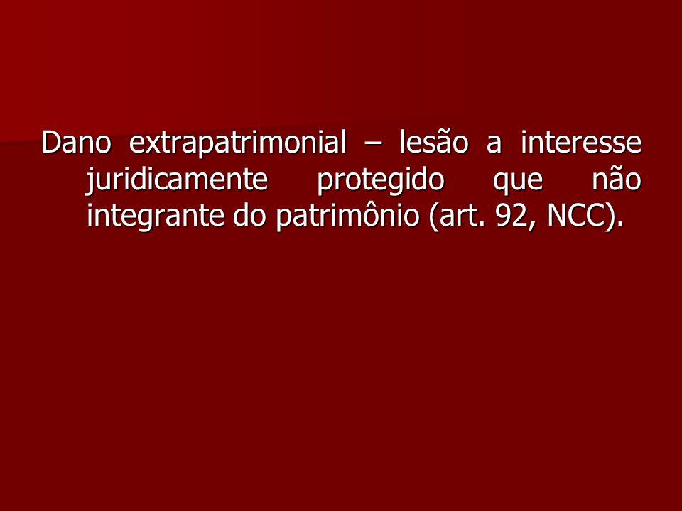 Dano extrapatrimonial – lesão a interesse juridicamente protegido que não integrante do patrimônio (art. 92, NCC).