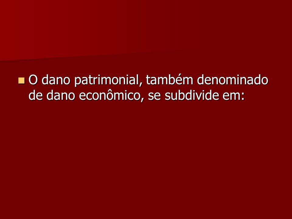 O dano patrimonial, também denominado de dano econômico, se subdivide em: O dano patrimonial, também denominado de dano econômico, se subdivide em: