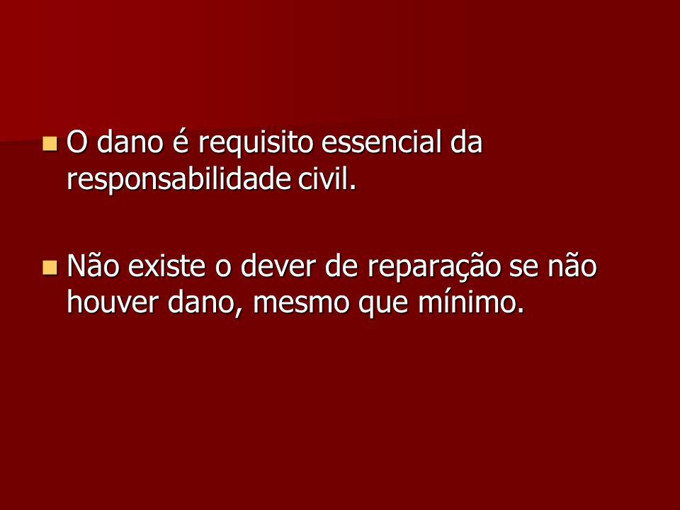 O dano é requisito essencial da responsabilidade civil. O dano é requisito essencial da responsabilidade civil. Não existe o dever de reparação se não