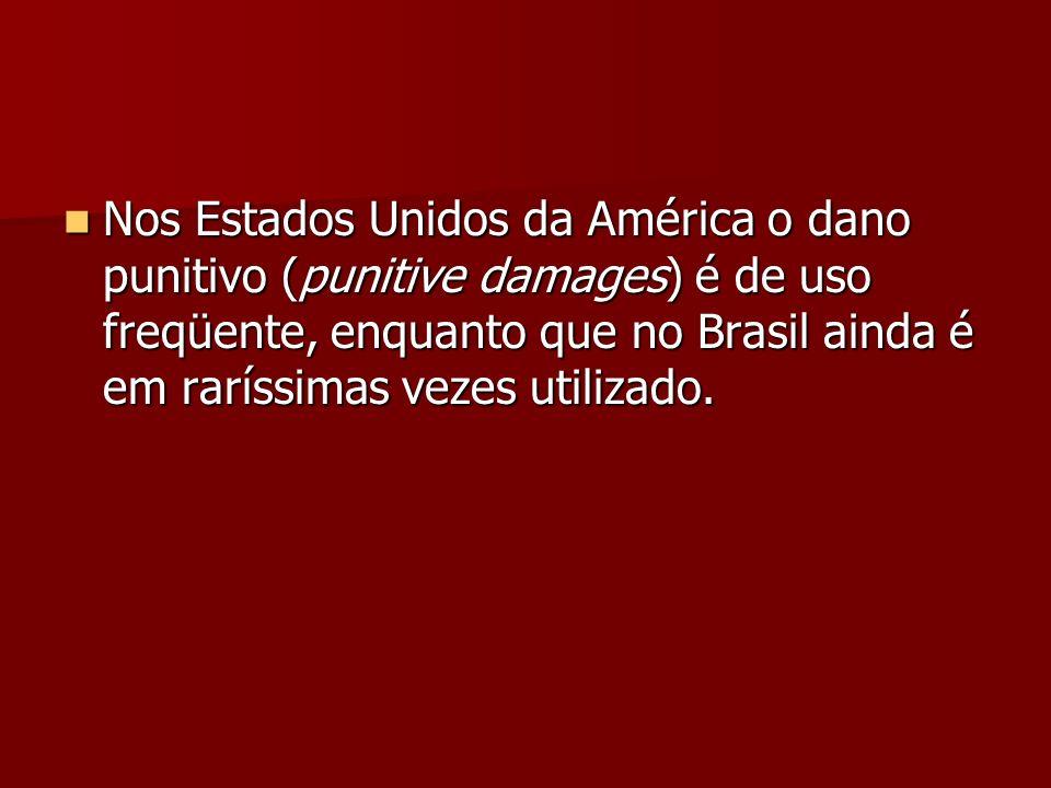 Nos Estados Unidos da América o dano punitivo (punitive damages) é de uso freqüente, enquanto que no Brasil ainda é em raríssimas vezes utilizado. Nos