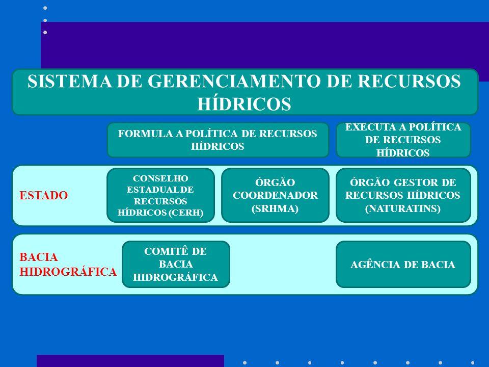 BACIA HIDROGRÁFICA ESTADO SISTEMA DE GERENCIAMENTO DE RECURSOS HÍDRICOS CONSELHO ESTADUAL DE RECURSOS HÍDRICOS (CERH) ÓRGÃO COORDENADOR (SRHMA) ÓRGÃO GESTOR DE RECURSOS HÍDRICOS (NATURATINS) COMITÊ DE BACIA HIDROGRÁFICA AGÊNCIA DE BACIA FORMULA A POLÍTICA DE RECURSOS HÍDRICOS EXECUTA A POLÍTICA DE RECURSOS HÍDRICOS