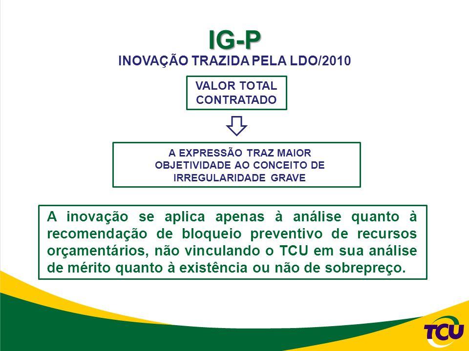 IG-P VALOR TOTAL CONTRATADO A EXPRESSÃO TRAZ MAIOR OBJETIVIDADE AO CONCEITO DE IRREGULARIDADE GRAVE INOVAÇÃO TRAZIDA PELA LDO/2010 A inovação se aplica apenas à análise quanto à recomendação de bloqueio preventivo de recursos orçamentários, não vinculando o TCU em sua análise de mérito quanto à existência ou não de sobrepreço.