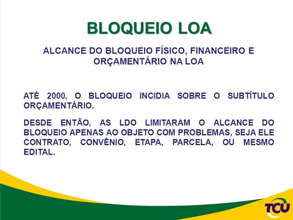 ALCANCE DO BLOQUEIO FÍSICO, FINANCEIRO E ORÇAMENTÁRIO NA LOA ATÉ 2000, O BLOQUEIO INCIDIA SOBRE O SUBTÍTULO ORÇAMENTÁRIO.