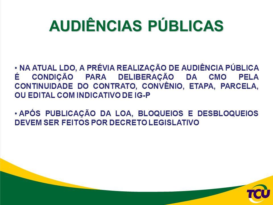 NA ATUAL LDO, A PRÉVIA REALIZAÇÃO DE AUDIÊNCIA PÚBLICA É CONDIÇÃO PARA DELIBERAÇÃO DA CMO PELA CONTINUIDADE DO CONTRATO, CONVÊNIO, ETAPA, PARCELA, OU EDITAL COM INDICATIVO DE IG-P APÓS PUBLICAÇÃO DA LOA, BLOQUEIOS E DESBLOQUEIOS DEVEM SER FEITOS POR DECRETO LEGISLATIVO AUDIÊNCIAS PÚBLICAS