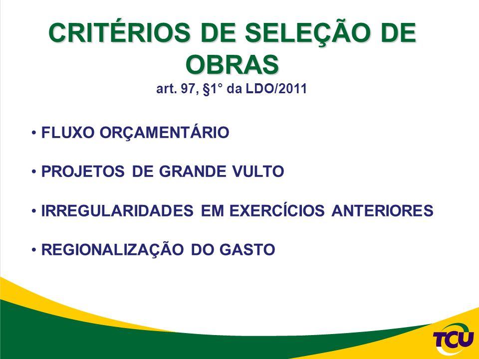 FLUXO ORÇAMENTÁRIO PROJETOS DE GRANDE VULTO IRREGULARIDADES EM EXERCÍCIOS ANTERIORES REGIONALIZAÇÃO DO GASTO CRITÉRIOS DE SELEÇÃO DE OBRAS art.