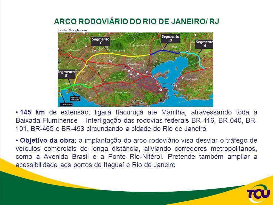 ARCO RODOVIÁRIO DO RIO DE JANEIRO/ RJ 145 km de extensão: ligará Itacuruçá até Manilha, atravessando toda a Baixada Fluminense – Interligação das rodovias federais BR-116, BR-040, BR- 101, BR-465 e BR-493 circundando a cidade do Rio de Janeiro Objetivo da obra: a implantação do arco rodoviário visa desviar o tráfego de veículos comerciais de longa distância, aliviando corredores metropolitanos, como a Avenida Brasil e a Ponte Rio-Nitéroi.