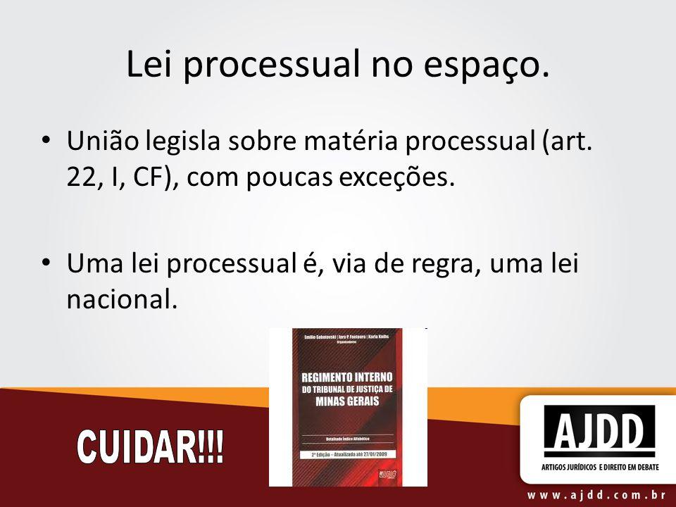 Lei processual no espaço. União legisla sobre matéria processual (art.