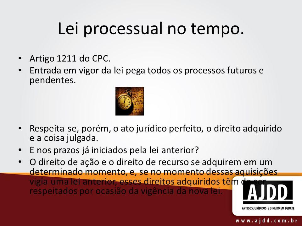 Lei processual no tempo. Artigo 1211 do CPC.