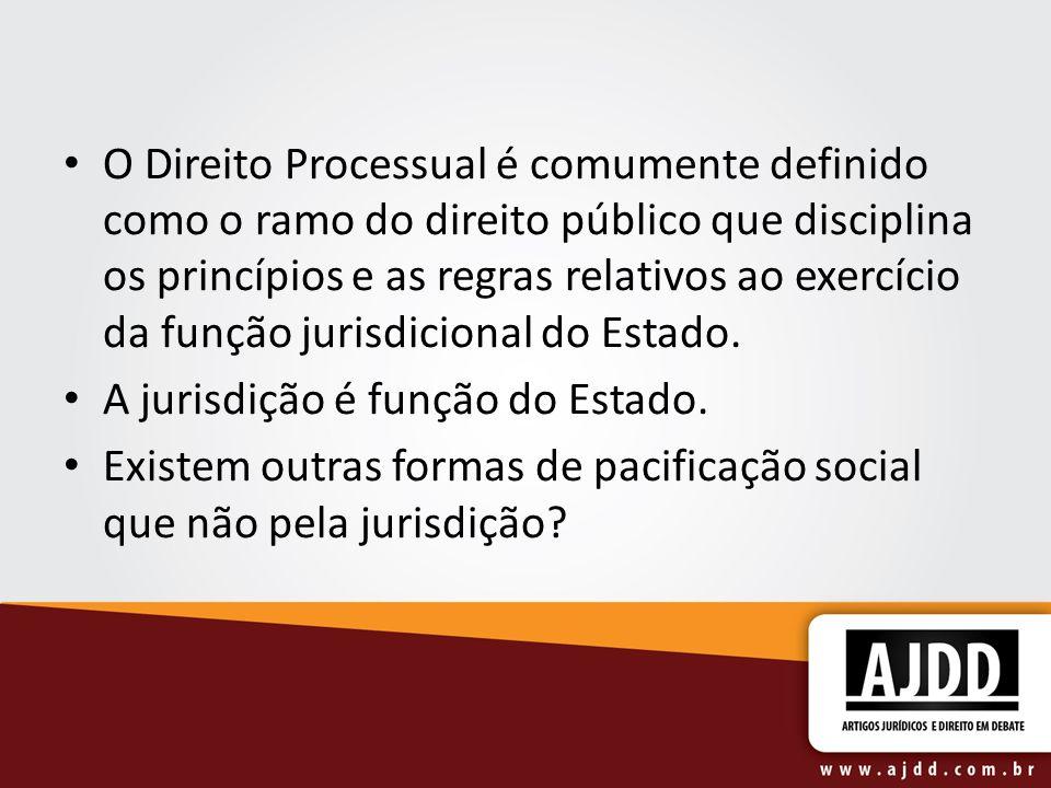 O Direito Processual é comumente definido como o ramo do direito público que disciplina os princípios e as regras relativos ao exercício da função jurisdicional do Estado.