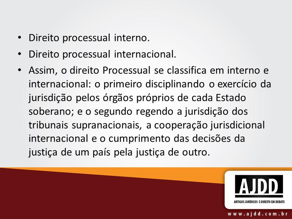 Direito processual interno: processo civil e processo penal.