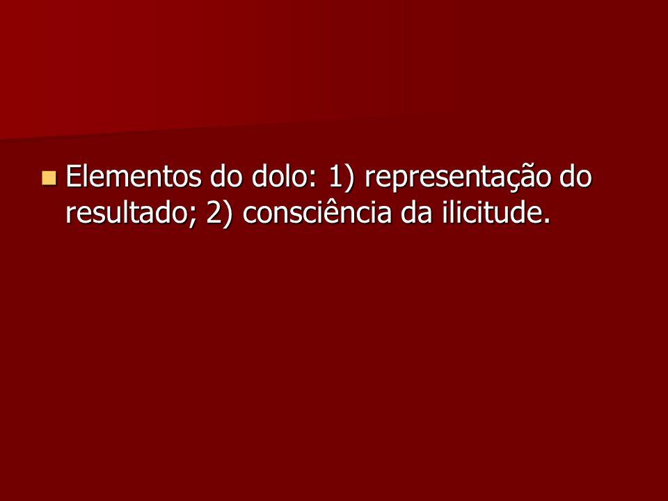 Elementos do dolo: 1) representação do resultado; 2) consciência da ilicitude. Elementos do dolo: 1) representação do resultado; 2) consciência da ili