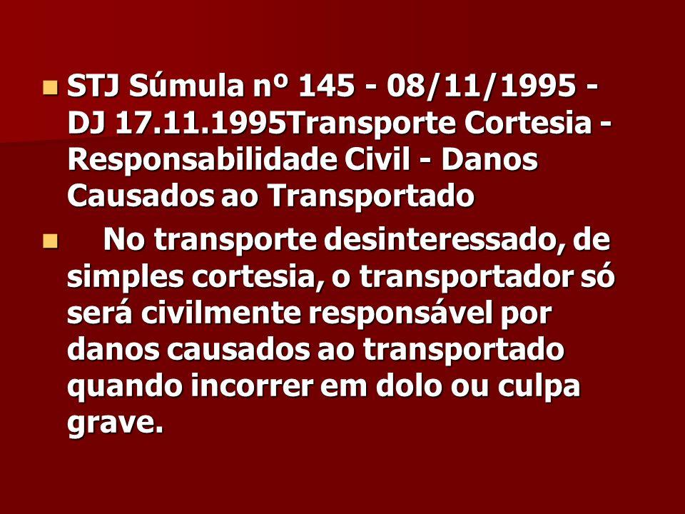 STJ Súmula nº 145 - 08/11/1995 - DJ 17.11.1995Transporte Cortesia - Responsabilidade Civil - Danos Causados ao Transportado STJ Súmula nº 145 - 08/11/
