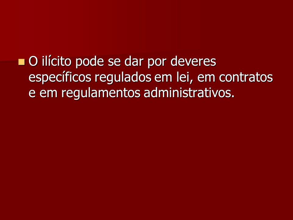 O ilícito pode se dar por deveres específicos regulados em lei, em contratos e em regulamentos administrativos. O ilícito pode se dar por deveres espe