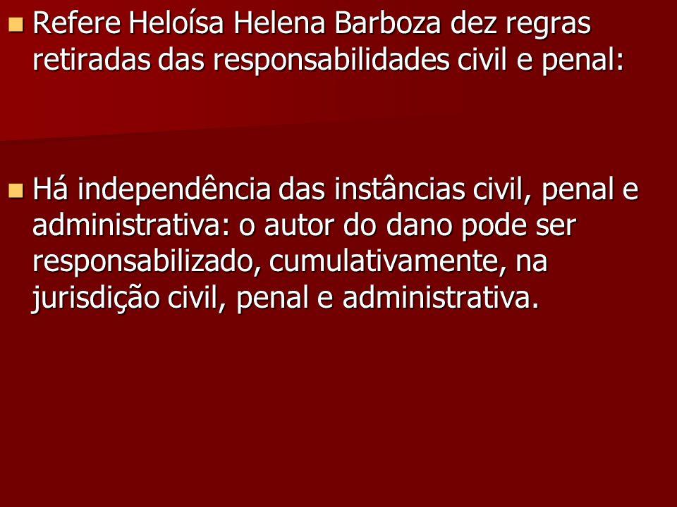 Refere Heloísa Helena Barboza dez regras retiradas das responsabilidades civil e penal: Refere Heloísa Helena Barboza dez regras retiradas das respons
