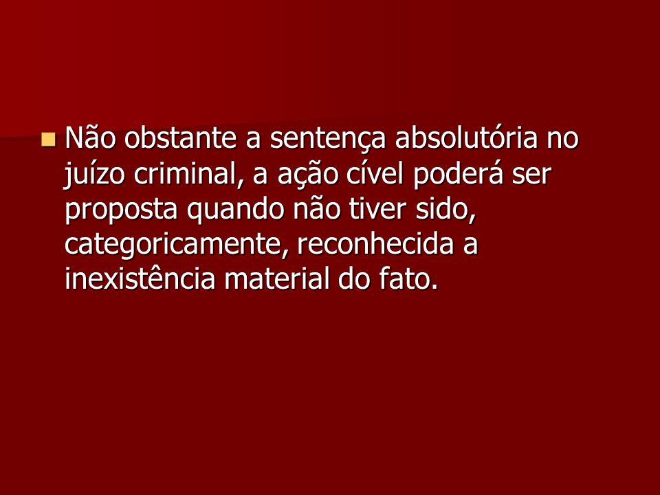 Não obstante a sentença absolutória no juízo criminal, a ação cível poderá ser proposta quando não tiver sido, categoricamente, reconhecida a inexistê