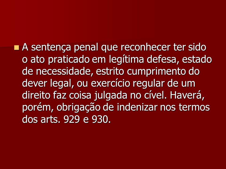 A sentença penal que reconhecer ter sido o ato praticado em legítima defesa, estado de necessidade, estrito cumprimento do dever legal, ou exercício r