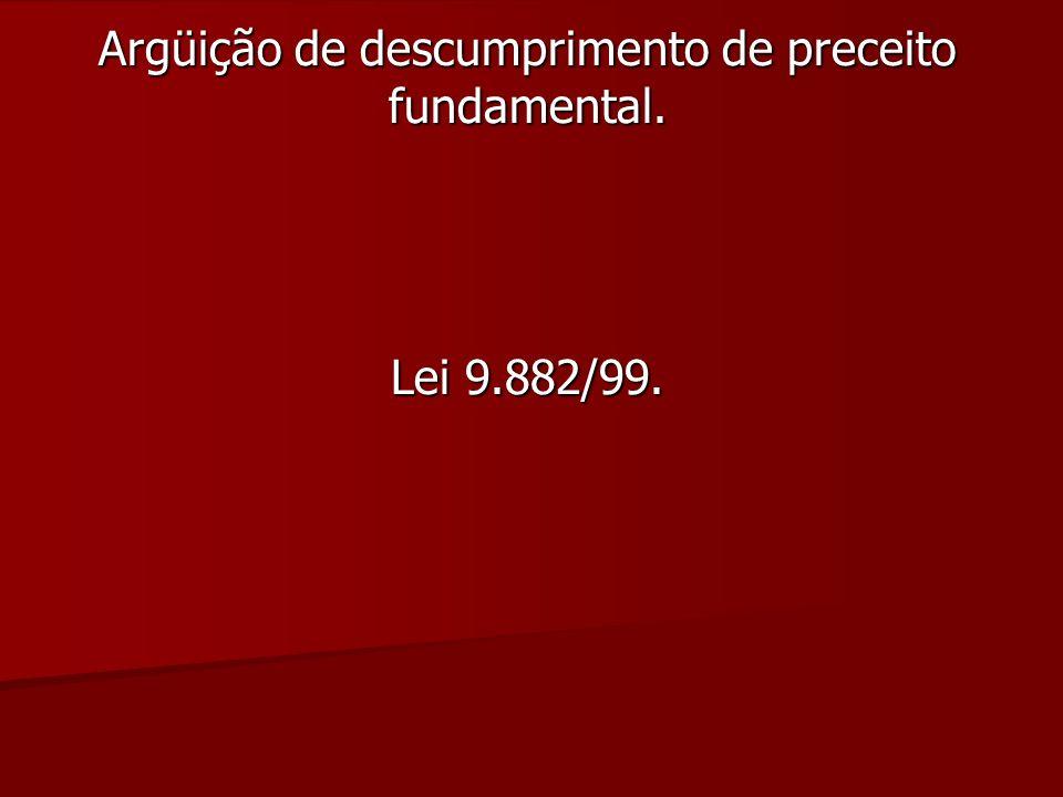 Argüição de descumprimento de preceito fundamental. Lei 9.882/99.