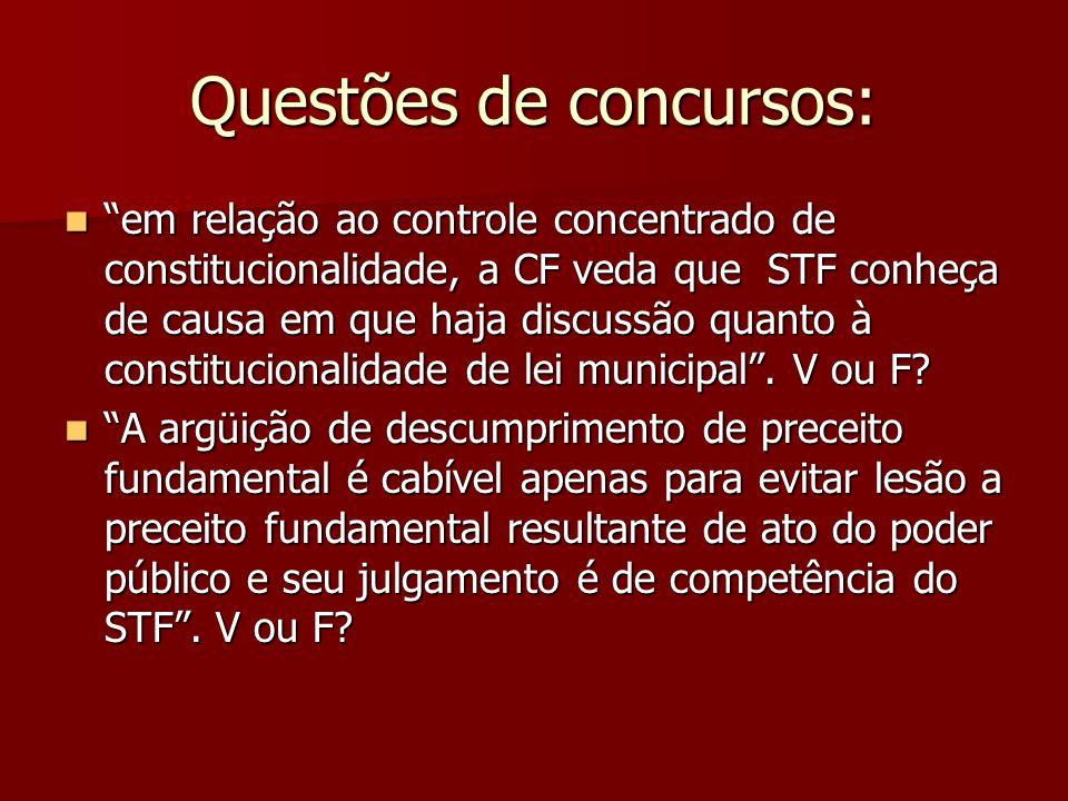 Questões de concursos: em relação ao controle concentrado de constitucionalidade, a CF veda que STF conheça de causa em que haja discussão quanto à co