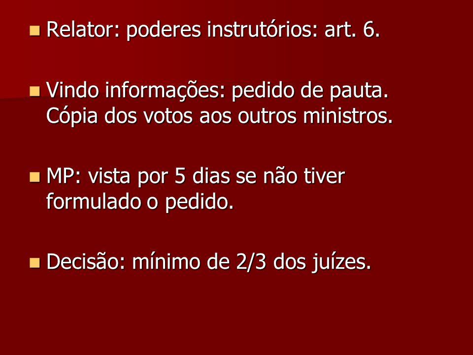 Relator: poderes instrutórios: art. 6. Relator: poderes instrutórios: art. 6. Vindo informações: pedido de pauta. Cópia dos votos aos outros ministros
