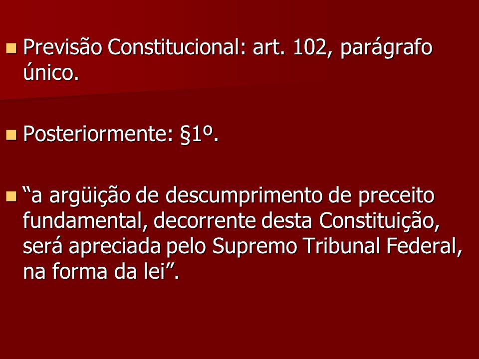 Previsão Constitucional: art. 102, parágrafo único. Previsão Constitucional: art. 102, parágrafo único. Posteriormente: §1º. Posteriormente: §1º. a ar