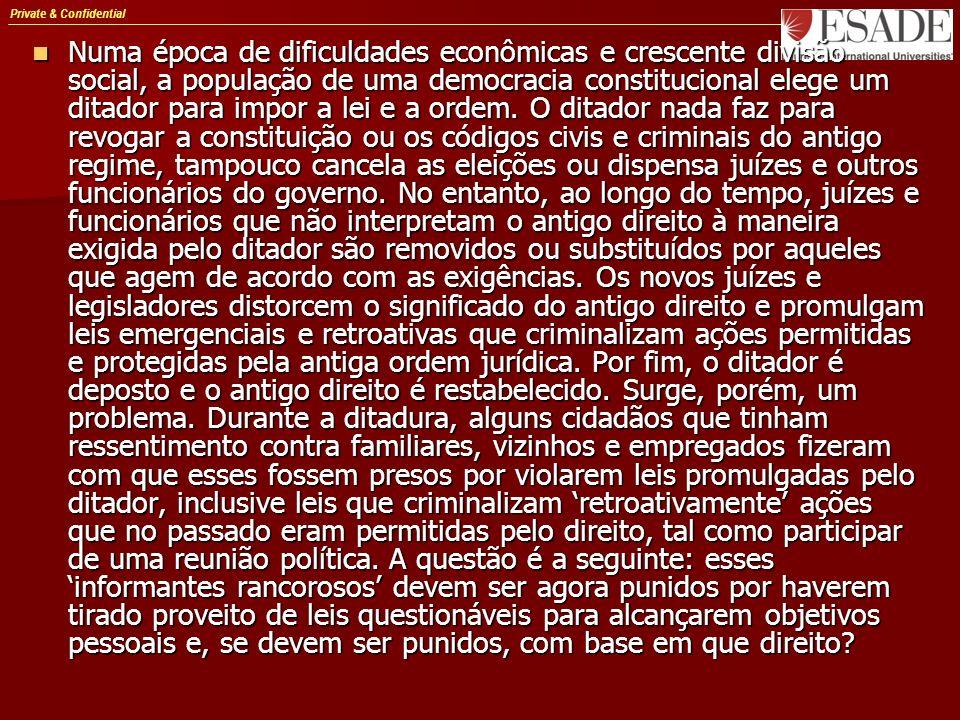 Private & Confidential Numa época de dificuldades econômicas e crescente divisão social, a população de uma democracia constitucional elege um ditador para impor a lei e a ordem.