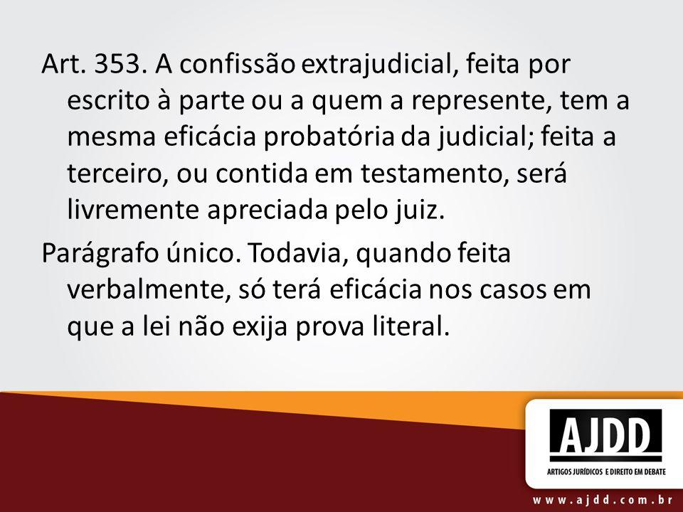 Art. 353. A confissão extrajudicial, feita por escrito à parte ou a quem a represente, tem a mesma eficácia probatória da judicial; feita a terceiro,