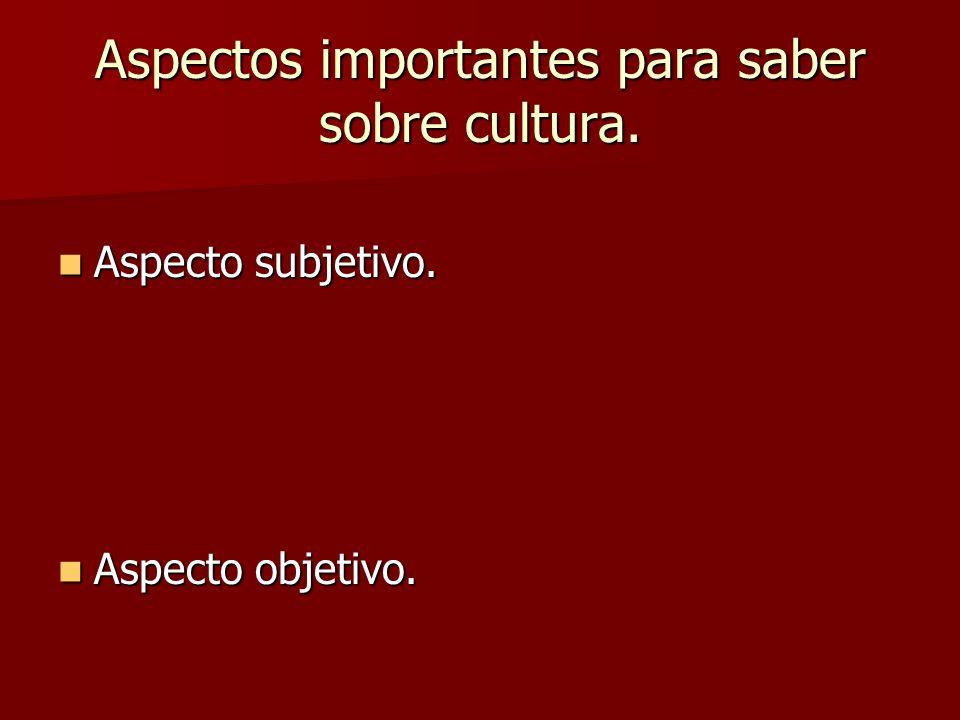 Aspectos importantes para saber sobre cultura. Aspecto subjetivo. Aspecto subjetivo. Aspecto objetivo. Aspecto objetivo.