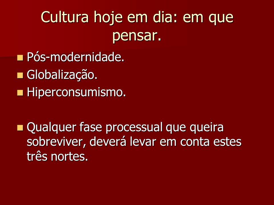 Cultura hoje em dia: em que pensar. Pós-modernidade. Pós-modernidade. Globalização. Globalização. Hiperconsumismo. Hiperconsumismo. Qualquer fase proc