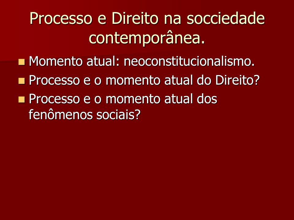 Processo e Direito na socciedade contemporânea. Momento atual: neoconstitucionalismo. Momento atual: neoconstitucionalismo. Processo e o momento atual