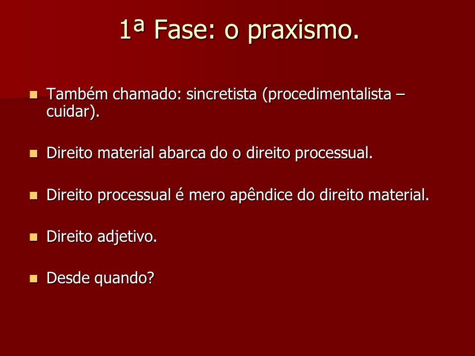 1ª Fase: o praxismo. Também chamado: sincretista (procedimentalista – cuidar). Também chamado: sincretista (procedimentalista – cuidar). Direito mater