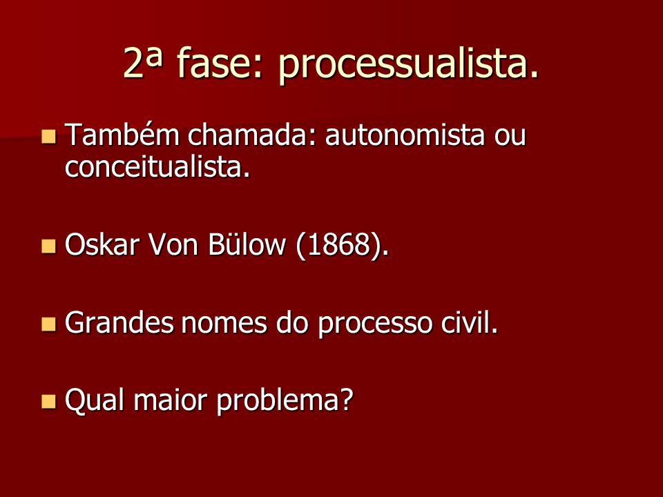 2ª fase: processualista. Também chamada: autonomista ou conceitualista. Também chamada: autonomista ou conceitualista. Oskar Von Bülow (1868). Oskar V
