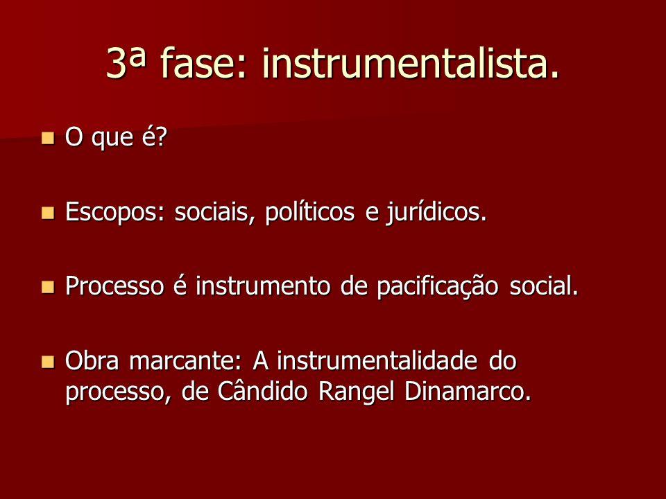 3ª fase: instrumentalista. O que é? O que é? Escopos: sociais, políticos e jurídicos. Escopos: sociais, políticos e jurídicos. Processo é instrumento