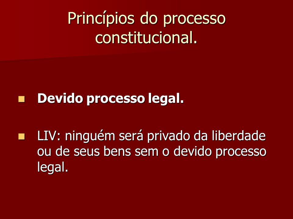 Princípios do processo constitucional. Devido processo legal. Devido processo legal. LIV: ninguém será privado da liberdade ou de seus bens sem o devi
