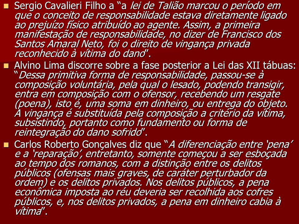Sergio Cavalieri Filho a a lei de Talião marcou o período em que o conceito de responsabilidade estava diretamente ligado ao prejuízo físico atribuído