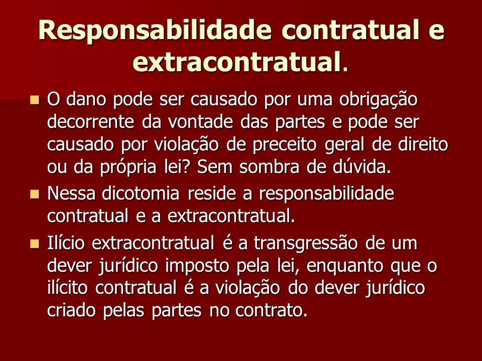 Responsabilidade contratual e extracontratual. O dano pode ser causado por uma obrigação decorrente da vontade das partes e pode ser causado por viola