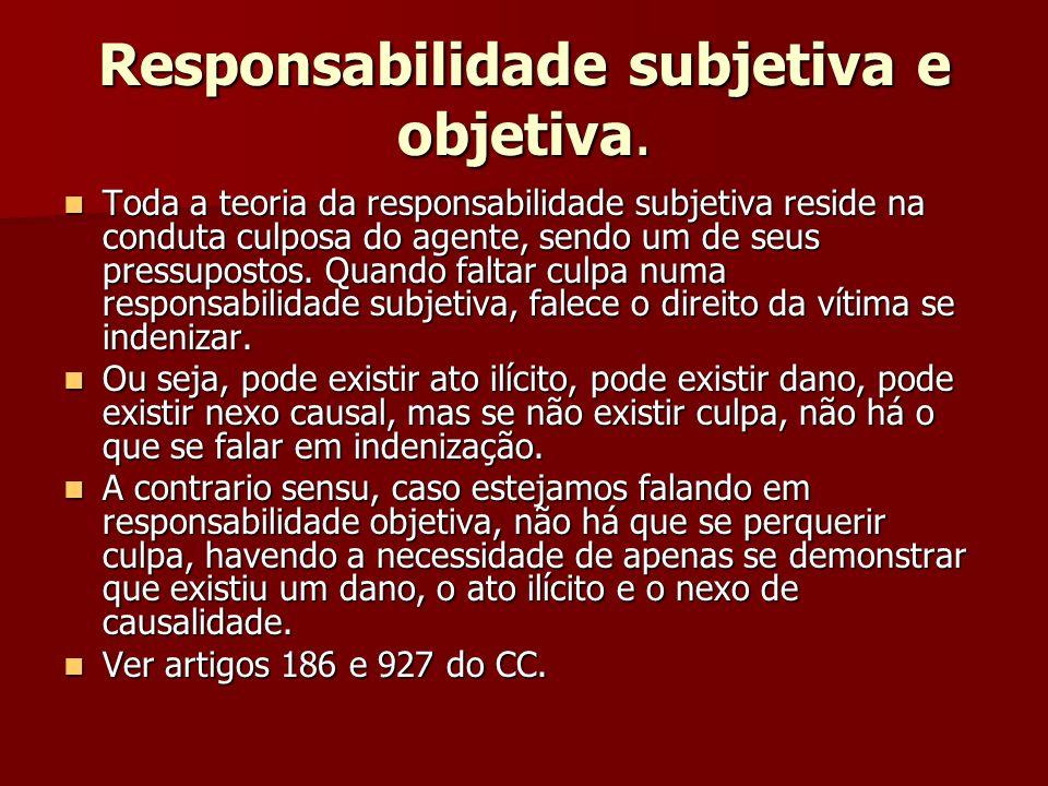 Responsabilidade subjetiva e objetiva. Toda a teoria da responsabilidade subjetiva reside na conduta culposa do agente, sendo um de seus pressupostos.