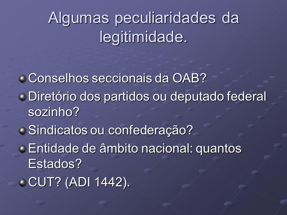 Algumas peculiaridades da legitimidade.Conselhos seccionais da OAB.