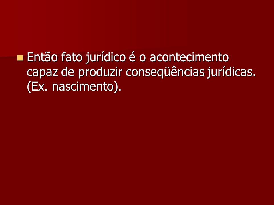 Então fato jurídico é o acontecimento capaz de produzir conseqüências jurídicas. (Ex. nascimento). Então fato jurídico é o acontecimento capaz de prod