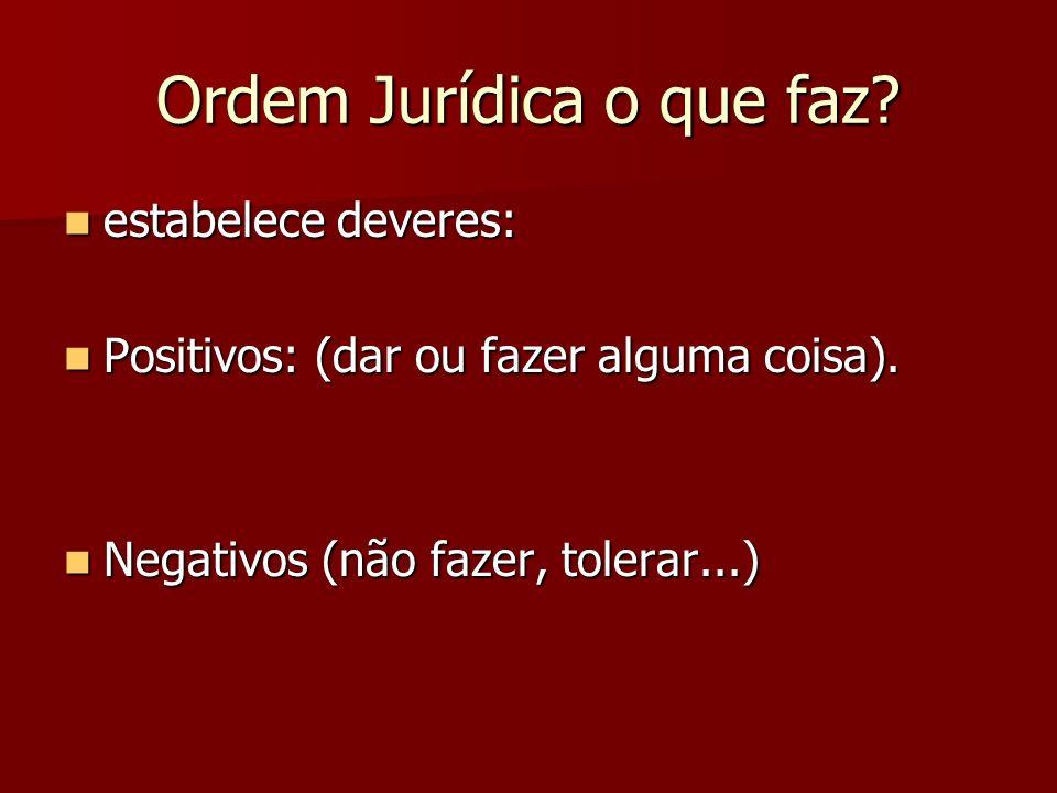 Ordem Jurídica o que faz? estabelece deveres: estabelece deveres: Positivos: (dar ou fazer alguma coisa). Positivos: (dar ou fazer alguma coisa). Nega